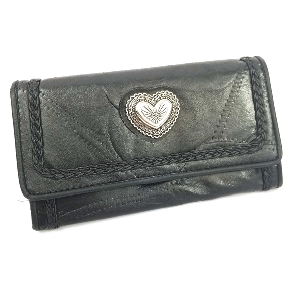Black Leather Patchwork Silver Metal Heart Wallet